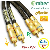 [AR306 Apollo] Premium Audio Cable, 2-RCA male to 2-RCA male, Analog Stereo Audio, 24K gold-plated, high-purity OFC, Directional, 0.6m (2ft)