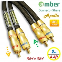 [AR320 Apollo] Premium Audio Cable, 2-RCA male to 2-RCA male, Analog Stereo Audio, 24K gold-plated, high-purity OFC, Directional, 2.0m (6.5ft).
