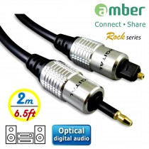 AT12_ S/PDIF Optical Digital Audio Cable, mini Toslink (3.5mm) to Toslink, 2m (6.5 ft.).