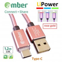 [CU2-L02] USB Sync & Fast Charge Cable, Type-C, LED indicator, Quick Charge 3.0/2.0, rose gold.