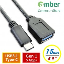 [CU3-AA02] USB3.1 Type-C OTG Adapter Cable, USB3.1 Type-C male to A female; Gen 1, 15cm.