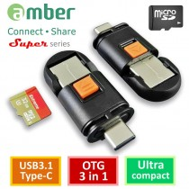 [CU3R-GB04] OTG 3 in 1, micro SD Reader, USB3.1 Type-C & USB3.1 A dual plugs/ micro SD
