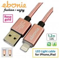 [ELT-L02] ebonie USB Lightning for iPhone/ iPad, USB Sync & Fast Charge, LED indicator, rose gold.