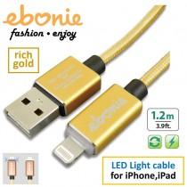 [ELT-L04] ebonie USB Lightning for iPhone/ iPad, USB Sync & Fast Charge, LED indicator, rich gold.