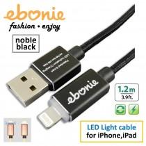 [ELT-L05] ebonie USB Lightning for iPhone/ iPad, USB Sync & Fast Charge, LED indicator, noble black.