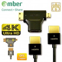 [HM-AA223] HDMI 3-in-1 kit, Ultra Slim HDMI A-A cable, OFC, with Adapter A to C/ D, PREMIUM 4K.