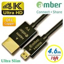 [HM-DA04] Ultra Slim HDMI Active Cable, micro HDMI (D) to HDMI A, OFC, 4.6 m.
