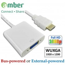 [HM-VGA1] Adapter HDMI to VGA, with audio output, external DC +5V power in.