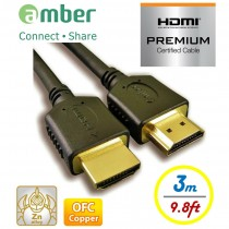 HM2-AA130_ PREMIUM High Speed HDMI cable with Ethernet, A-A, OFC, 3 m, PREMIUM HDMI 2.0b Certified.