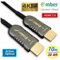 HMAO-P10_ HDMI 2.0 Active Optical Cable(AOC), A-A, Premium 4K @60Hz/ 18 Gbps, HDR, 4:4:4, 10 m (32.8 ft)