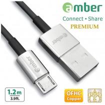 [MUB-212] USB Sync & Fast Charge cable, micro USB, QC3.0/QC2.0, Zinc Alloy, OFHC.