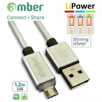 MUB-L01_ USB Sync & Fast Charge Cable, micro USB, LED indicator, Quick Charge 3.0/2.0, silver