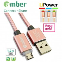 MUB-L02_ USB Sync & Fast Charge Cable, micro USB, LED indicator, Quick Charge 3.0/2.0, rose gold.