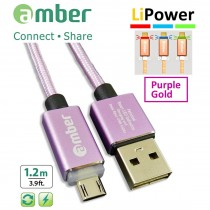MUB-L03_ USB Sync & Fast Charge Cable, micro USB, LED indicator, Quick Charge 3.0/2.0, purple gold.