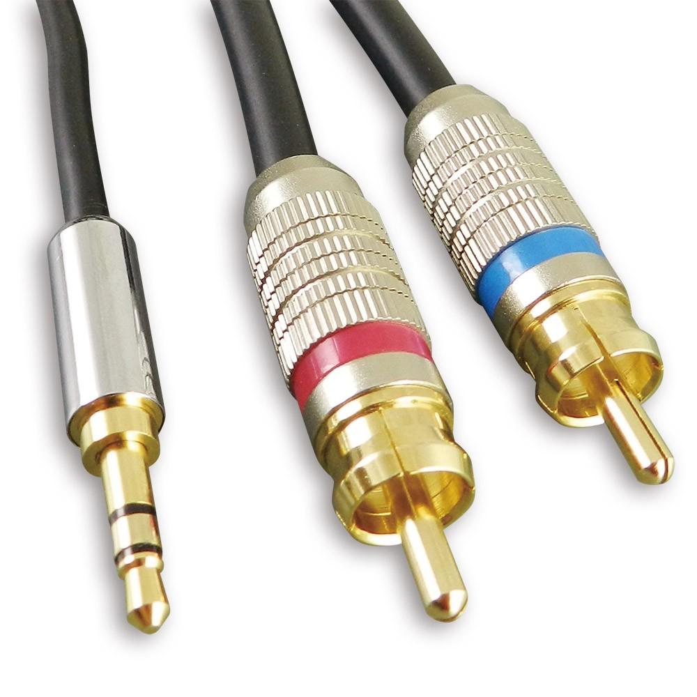[AXR12] 3.5mm AUX mini Jack對RCA,立體聲、類比音響線(Stereo Analog Audio),24K鍍金,OFC無氧銅。2m。