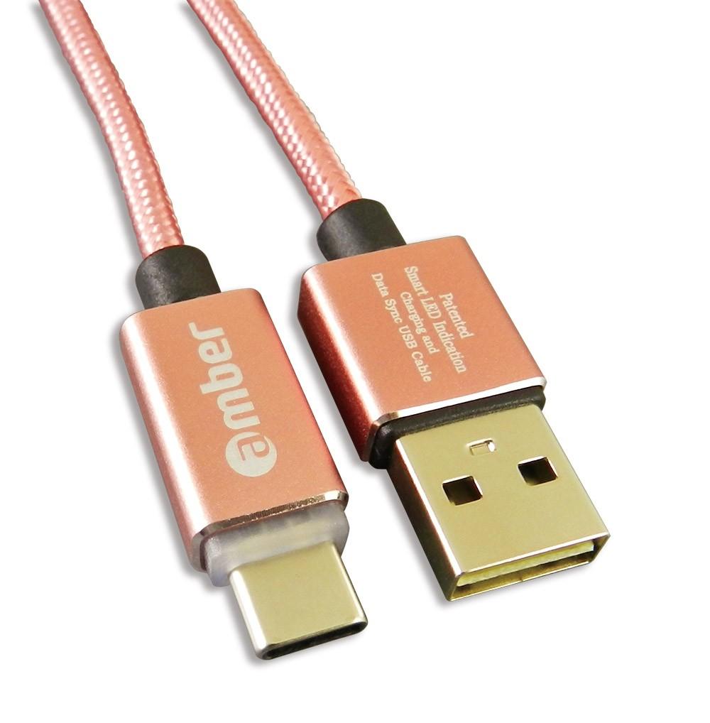 [CU2-L02] USB Type-C智能發光/智能斷電,極速快充/資料傳輸線;USB A頭 & Type-C頭、正反兩面都可插;支援快充QC3.0 /2.0,玫瑰金。