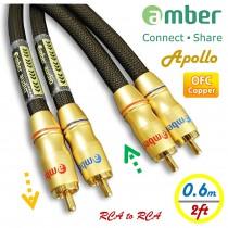 [AR306 Apollo] Premium超優音源訊號線,雙RCA公to雙RCA公,類比式立體聲 音響線,24K鍍金,高純度OFC無氧銅,具方向性,獨立雙線音響線,0.6米
