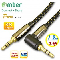 [AX01 Pure] 3.5mm AUX Stereo Audio立體聲音源訊號線,無氧銅OFC,24K鍍金,mini jack是「直式及L型(90°)」,1.2米。