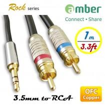 [AXR11] 3.5mm AUX mini Jack對RCA,立體聲、類比音響線(Stereo Analog Audio),24K鍍金,OFC無氧銅。1m。
