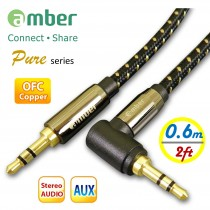 [AXZ6 Pure] 3.5mm AUX Stereo Audio Cable, OFC, 24K gold plated, straight & L-shaped mini jack, 0.6m (2ft.)