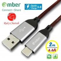 CU2-C20_ USB Type-C 極強韌QC 3.0快速充電線,強韌耐磨的PET編織線,強固高級的鋁合金殼接頭。耐電壓/電流達30V/3A。Android 安卓智慧手機/ 平板專用。2米。