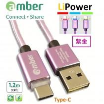 [CU2-L03] USB Type-C智能發光/智能斷電,極速快充/資料傳輸線;USB A頭 & Type-C頭、正反兩面都可插;支援快充QC3.0 /2.0,紫金。
