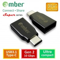 [CU3-AA01] USB3.1 Type-C OTG轉接器;USB3.1 Type-C公 轉USB3.1 A母,Gen 2,超小細緻型。
