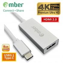 [CU3-AH11] 轉接器Adapter USB3.1 Type-C轉HDMI 2.0, Premium 4K @60Hz, 高級鋁合金殼。閃亮銀。