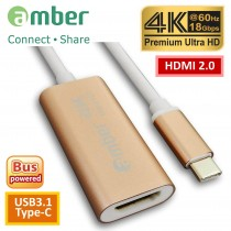 [CU3-AH12]  轉接器Adapter USB3.1 Type-C轉HDMI 2.0, Premium 4K @60Hz, 高級鋁合金殼。玫瑰金。