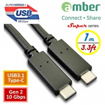 [CU3-CC210] USB-IF認證USB 3.1 Gen2 (10 Gbps)傳輸線, USB 3.1 Type-C對Type-C, 1 m, Power Delivery (PD), e-mark IC