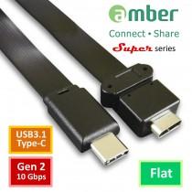 [CU3-FC01] 超級USB-C轉接延伸線, USB3.1 Type-C公、轉Type-C母, Gen2 (10Gbps), 44cm, 高品質扁線, 表現近乎原生。