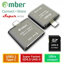 [CU3R-GB07] 超級最快速的UHS-II SD4.0讀卡機。USB 3.1 Type-C to UHS-II SD4.0 reader/ writer,312 MB/s。超薄細緻型,高級鋁合金。