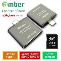 [CU3R-GB07] 超級最快速的SD4.0讀卡機。USB 3.1 Type-C to SD4.0 UHS-II reader/ writer,312 MB/s。超薄細緻型,高級鋁合金。