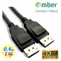 [DPC-209] VESA DisplayPort 1.2影音訊號線, DP公對DP公, 4K @60Hz, 21.6Gbps, 0.9米。