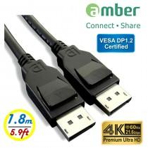 [DPC-218] VESA DisplayPort 1.2認證 影音傳輸線, DP公 對 DP公, 4K @60Hz, 21.6Gbps, 1.8m。
