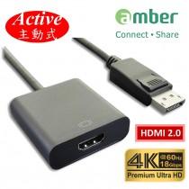 [DPH-24] 4K Active主動式轉接器, DisplayPort 1.2轉HDMI 2.0, 4K@60Hz