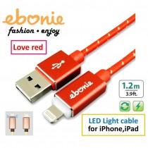 [ELT-L08] ebonie USB Lightning for iPhone/iPad,極速快充/資料傳輸線,智能發光/智能斷電,藍色心跳燈;A頭& Lightning頭、正反兩面都可插。火戀紅。