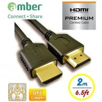 HM2-AA120_ PREMIUM HDMI 2.0b認證線, A-A, OFC無氧銅, 2m。特級高速HDMI傳輸線。