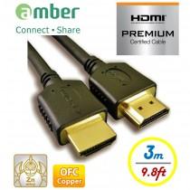 HM2-AA130_ PREMIUM HDMI 2.0b認證線, A-A, OFC無氧銅, 3m。特級高速HDMI傳輸線。