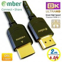 HM2-AA820_ 超高速優質HDMI 2.1傳輸線,A-A, 8K@60Hz, 48Gbps, OFC無氧銅, 2m。最好的8K Ultra HD HDMI 2.1 cable。