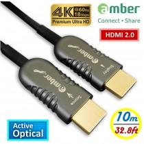 HMAO-P10_ HDMI 2.0主動式光纖傳輸線, Premium 4K @60Hz/ 18Gbps, HDR, 4:4:4, 10m, Panther Beyond黑豹超越