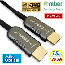 HMAO-P15_ HDMI 2.0主動式光纖傳輸線, Premium 4K @60Hz/ 18Gbps, HDR, 4:4:4, 15m, Panther Beyond黑豹超越