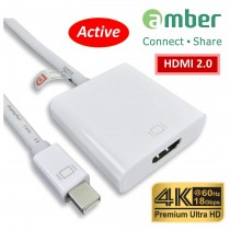 [MDP-H24] 主動式轉接器Active Adapter, mini DisplayPort轉HDMI 2.0_ Premium 4K @60Hz. ( Thunderbolt to HDMI 2.0 )