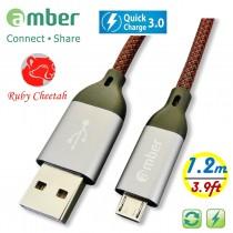 MUB-C12_ USB A to micro USB (micro B)極強韌QC 3.0快速充電線,強固高級的鋁合金殼接頭。耐電壓/電流達30V/3A。1.2米。