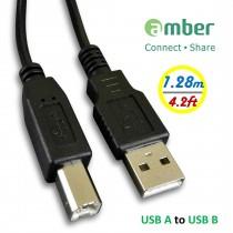 [MUB-C807] 傳輸線USB A 轉USB B。音響等級,適用於印表機、事務機。USB A to USB B, 1.28 m。