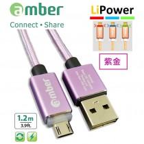 MUB-L03_ micro USB智能發光/智能斷電,極速快充/資料傳輸線;USB A頭& micro USB頭、正反兩面都可插;支援快充QC3.0 /2.0,紫金。
