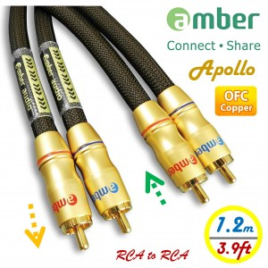 [AR312 Apollo] Premium超優音源訊號線,雙RCA公to雙RCA公,類比式立體聲 音響線,24K鍍金,高純度OFC無氧銅,具方向性,獨立雙線,1.2米