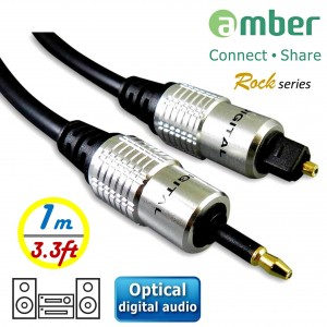 AT11_ 光纖數位音訊傳輸線S/PDIF Optical Digital Audio,3.5mm Mini Toslink對Toslink,[數位音訊]對[數位音訊],1米