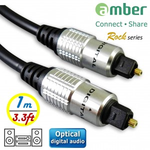 AT21_ 光纖數位音訊傳輸線,S/PDIF Optical Digital Audio,角型接頭Toslink對Toslink,[數位音訊]對[數位音訊],1米。