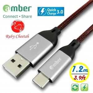 CU2-C12_ USB Type-C 極強韌QC 3.0快速充電線,強韌耐磨的PET編織線,強固高級的鋁合金殼接頭。耐電壓/電流達30V/3A。Android 安卓智慧手機/ 平板專用。1.2米。